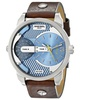Diesel Men's 'Daddy' Dual Time Leather Watch - Brown / Blue