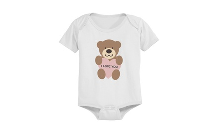 Cute I Love You Baby Bear Pre-shrunk White Cotton Snap-on Baby Bodysuit