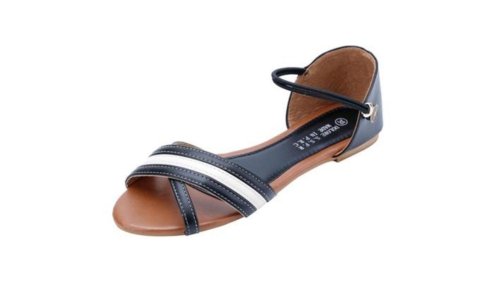 Women's Criss Cross Open Toe Flats Sandals