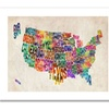 Michael Tompsett 'US States Text Map' Canvas Rolled Art