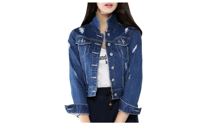 Women's Slim Fit Chic Casual Ripped Denim Jacket Outwear