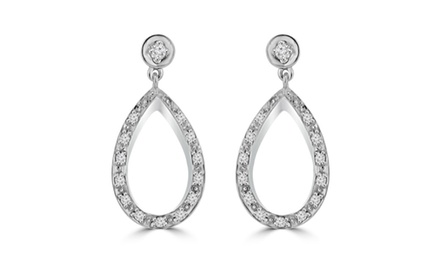 0.66 ct Ladies Round Cut Diamond Chandelier Earrings In 14 Kt White Gold