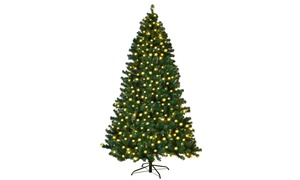 7Ft Pre-Lit PVC Artificial Christmas Tree Hinged w/ 300 LED Lights & Stand Green
