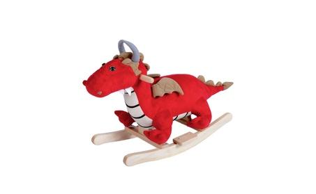 Wooden Kids Ride On Rocker Musical Plush Stuffed Dragon Rocking Horse