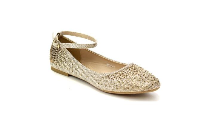 Beston CB82 Women's Sparking Rhinestone Ankle Strap Ballet Flats