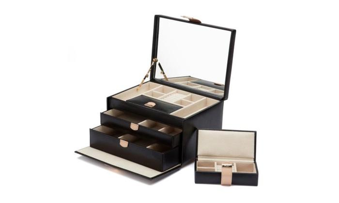 Wolf Designs Chloe Medium Jewelry Box in Black Cream Pattern