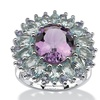 8.56 TCW Genuine Amethyst, Topaz & Tanzanite Ring