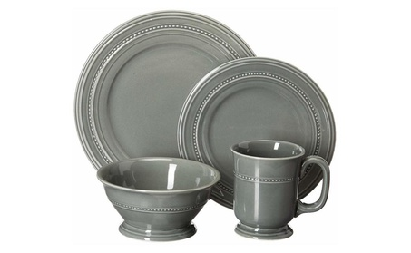 Gibson Elite Barberware 16 Piece Dinnerware Set, Gray photo