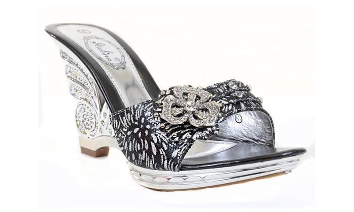 674745fc97b00 ... Metallic Silver Jeweled Cut-out Strappy Slide Open-toe Sandal Heels ...