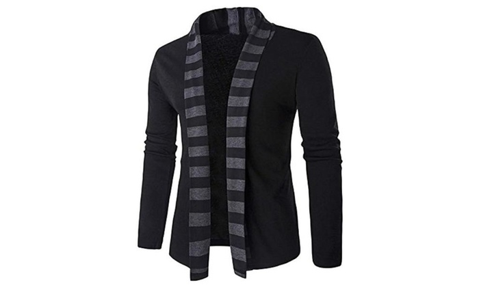 Men's Long Sleeves Open Front Shawl Collar Knit Cardigan Sweater
