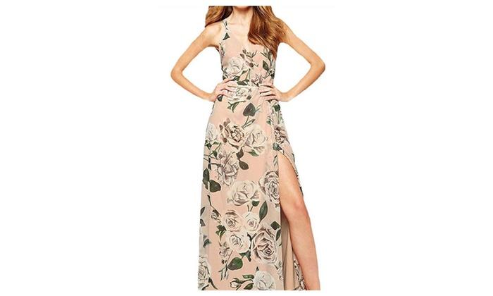 Women Bohemia Sexy Flower Printed Chiffon Dress