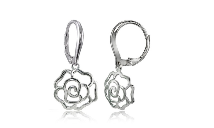 Groupon Goods: Sterling Silver High Polished Open Rose Dangle Leverback Earrings