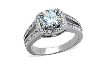 Women 2.95 Ct Halo Cubic Zirconia Stainless Steel Engagement Ring Band