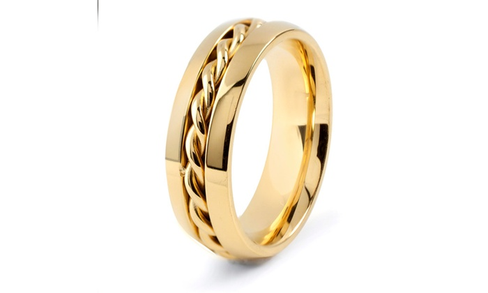 Groupon Goods: Men's Stainless Steel Polished Twisted Rope Inlay Band Ring