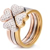 Unique 3in1 Crystal Flower Heart Stainless Steel Ring for Women