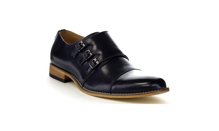 Beston EA27 Men's Chic Cap Toe Monk Strap Stitching Dress Shoes