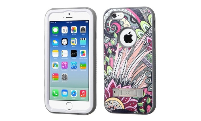Insten Bohemian Flower Hybrid Rubber Case w stand For iPhone 6