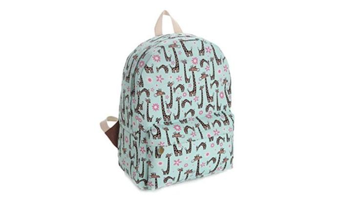 Gumstyle Canvas Travel School Bag Backpack Rucksack Giraffe Green - Green / Medium