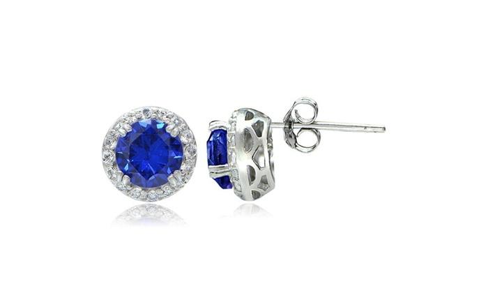 3 1ct Created Blue Shire White Topaz Halo Stud Earrings