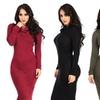 Women's Winter Long-Sleeved Mock Neck Turtleneck Bodycon Dress