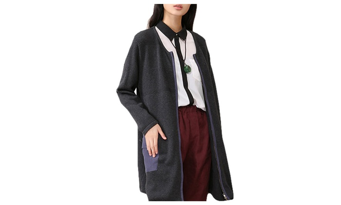 DPN Womens Casual Pure Color Long Sleeve Thin Cardigan With Two Pocket