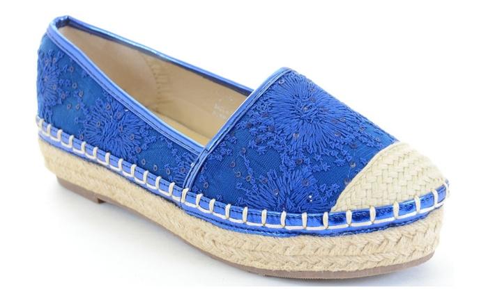 Blue Stitched Flower Canvas Cap Toe Stripes Espadrille Skimmer Loafer