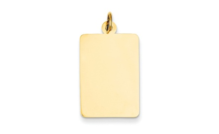 IceCarats Designer Jewelry 14k Plain .035 Gauge Rectangular Engravable Disc Charm