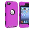 Insten Black/Hot Pink Hybrid Silicone Case Cover ForiPod Touch 4
