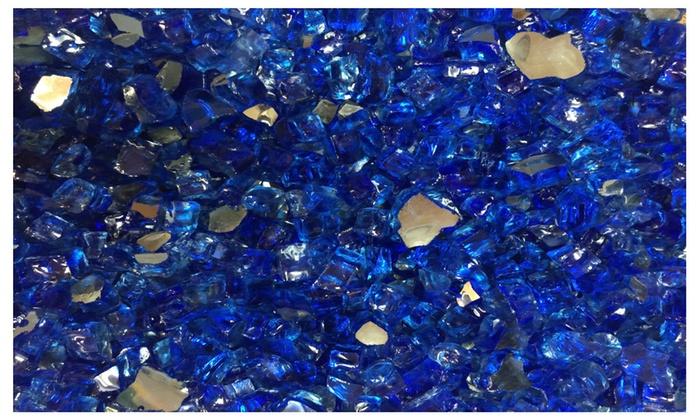 1/2 Deep Sea Blue Reflective Fire Glass For Fireplace 10lbs