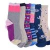 Womens Colorful Socks, Cotton Patterned Crew Sock, Stripes Motifs