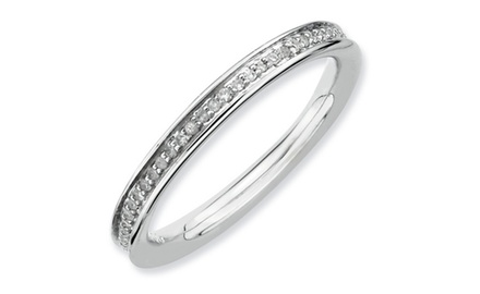 IceCarats Designer Jewelry Sterling Silver Stackable Expressions & Diamonds Polished Ring