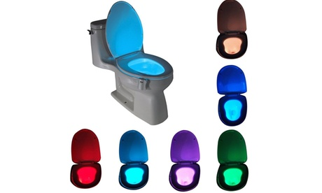 LED Sensor Motion Activated Bathroom Night Light Toilet Seat Bowl Battery Glow