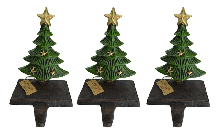 Christmas Tree Stocking Holder.Cast Iron Decorative Christmas Tree Stocking Holder 3 Trees 7