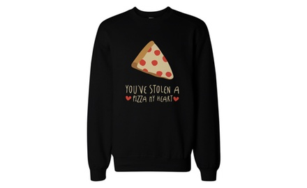 Cute Graphic Sweatshirt - You Stolen a Pizza My Heart Black Unisex Pullover Sweater
