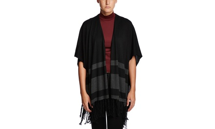 CUPIO Open Front High-Low Poncho with Fringe