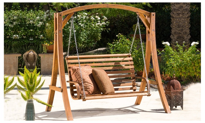 Marlette Outdoor Wood Swinging Bench And Base Groupon