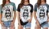 Womens Feeling Idgaf-ish Today T Shirt Skull Graphic Tees Tops