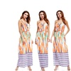 Women Free Size Floral Spaghetti Straps Round Neck Maxi Beach Dress
