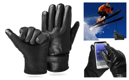 2-Tip PU Leather Waterproof Winter Touch Screen Gloves (1, or 2-Pair) eb1b1eda-9c7f-46bd-92bd-e69972bf0cd1