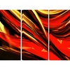 Red Lava Ribbons - Large Abstract Wall Art - 48x28 - 4 Panel