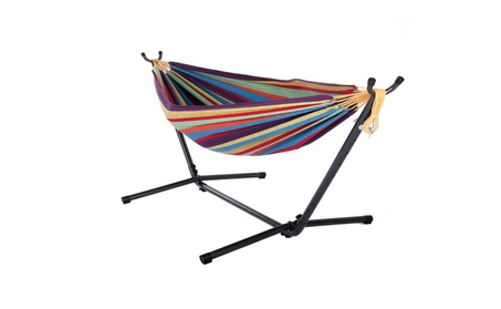 Double Hammock with Space Saving Steel Stand Portable Colorful b0d5f298-116e-4599-9bea-11b34a771e25
