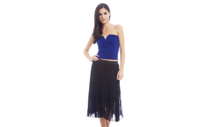 AX Paris Pleated Chiffon A Line  Skirt