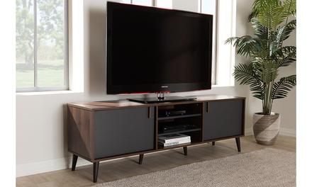 Samuel Brown and Dark Gray TV Stand