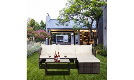 3-Piece Outdoor Patio Furniture Rattan Modular Sofa
