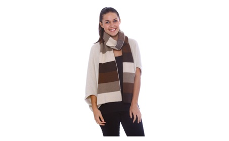 Unisex Soft Knit Tri-Tone Color Block Long Striped Scarf c6020314-2a38-49e4-b70d-d2490fa96262