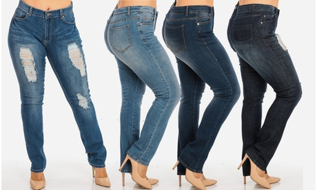 Nine Planet Women's Plus-Size Whiskered Straight-Leg Jeans. Multiple Styles Available.