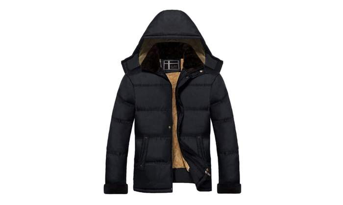 Men's Hood Fluff Thick Pockets Winter Coat Jacket
