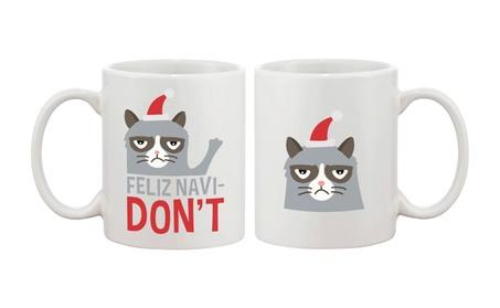 Cute Grumpy Cat Holiday Coffee Mug Feliz Navidon't Funny Mug Cup 038aa8db-f945-41fc-bac5-e7eb849b2792