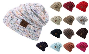 New Fall Winter Trendy Knitted Calsual CC Beanies Hat for Women