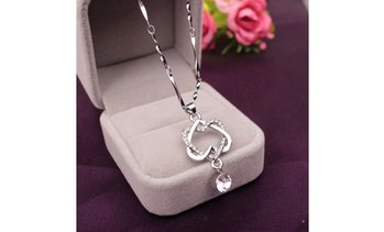 Elegant Women 925 Sterling Silver Double Heart Necklace Chain Jewelry